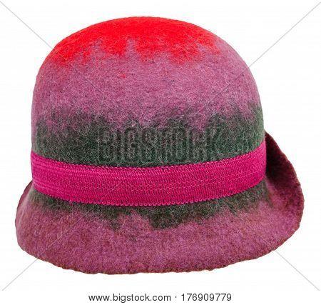 Handmade Felt Woman's Cloche Hat Isolated
