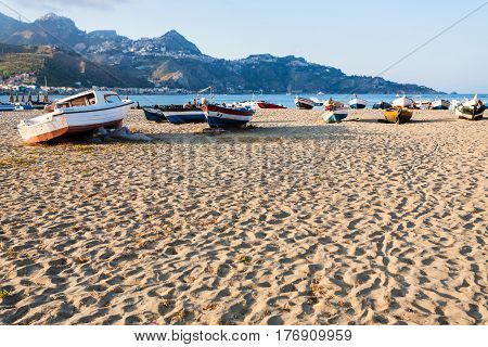 Sand Beach With Boats In Giardini Naxos Town