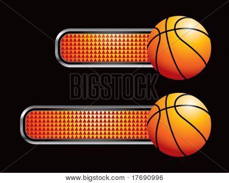 basketball on diamond checkered banners