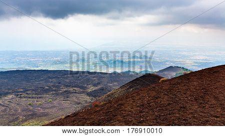 Lava Fields On Mount Etna And Ionian Sea Coast