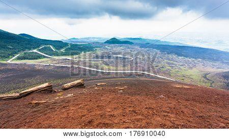 Road In Frozen Lava Fields On Mount Etna