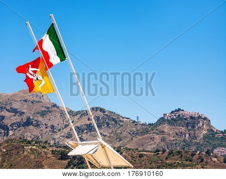 Italian And Sicilian Flags Flutter By Wind