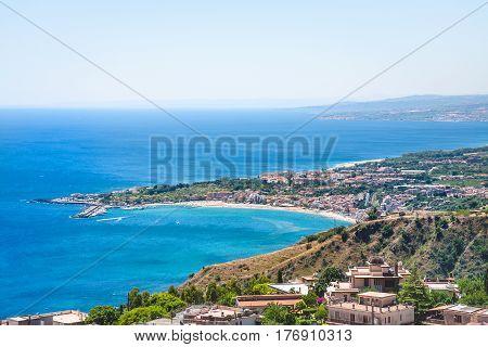 View Of Taormina City And Giardini Naxos Resort