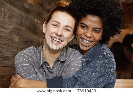 Love, Happiness, Interracial Relationships And Homosexuality Concept. Happy Stylish African American