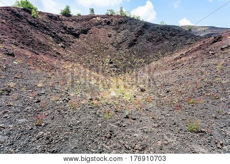 Old Volcano Crater Of The Etna Mount In Sicily
