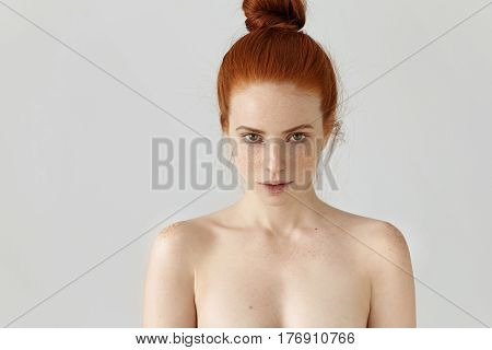 People, Youth And Beauty. Isolated Portrait Of Attractive Young Caucasian Female With Ginger Hair Kn