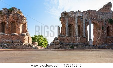 Scene Of Ancient Teatro Greco In Taormina