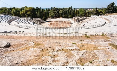Above View Of Ancient Greek Theater In Syracuse