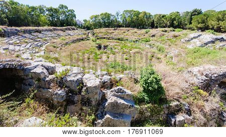 Ancient Roman Amphitheatre In Syracuse City