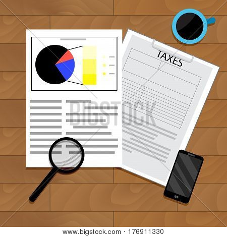 Analytics of taxation. Accounting analysis chart document annual income vector illustration