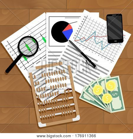 Financial analysis of statistics. Report accounting view statistical vector illustration banking table