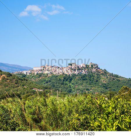 Castiglione Di Sicilia Town On Hill In Sicily
