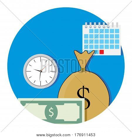 Money and business time icon flat. Salary concept fund vector illustration
