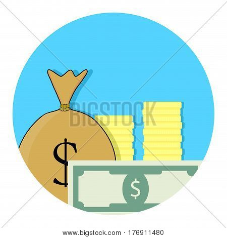 Capital money icon. Financial budget banknote and income success account app icon. Vector illustration