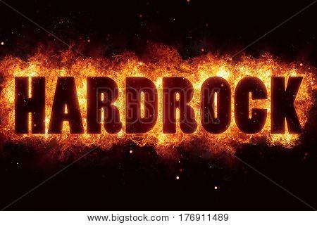 hardrock rock music text on fire flames explosion burning