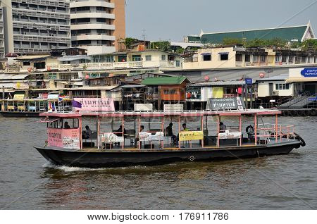 BANGKOK THAILAND - JAN 21 2017: Ferry boat at Chao Phraya River Chao Phraya River is a major river in Thailand