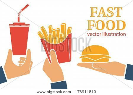 Fast food icon. Isolated on white background. Vector illustration flat design style. People hold hamburger, french fries in paper box, soda drink. Takeaway food, delivery. Template for prices.