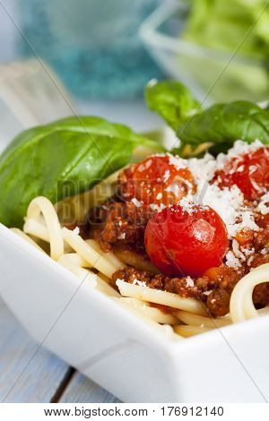 closeup of a portion of spaghetti bolognese with salad