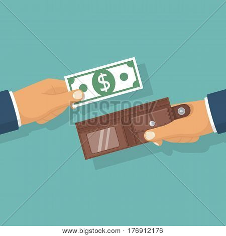 Money in hand. Putting cash in wallet. Purse hold in hand businessman. Vector illustration flat design. Isolated on background. Give, take the money. Finance concept. Paper dollars. Pay to buy.