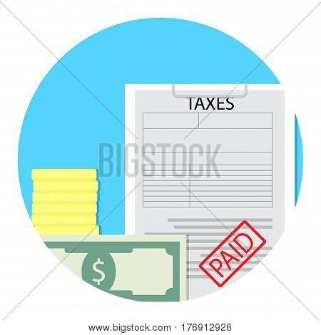 Tax paid icon. Taxation and budget profit banking vector illustration