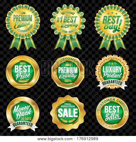 Set of excellent quality green badges with gold border.