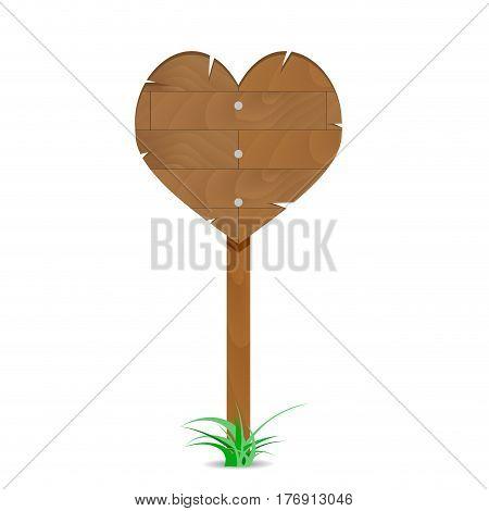 Wooden heart sign. Heart love wood valentine heart shape vector illustration