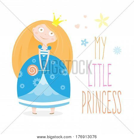 Card with cute cartoon princess. Litte girl and candy. Beautiful child with red hair in blue dress. Vector image.