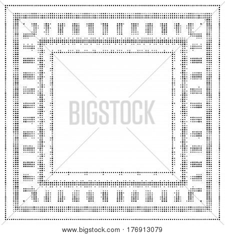 Square halftone background. Universal vector frame isolated on white. Halftone dots on white background. Screen print distressed texture. Monochrome geometric border with dots aged grunge effect.