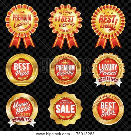 Set of excellent quality red badges with gold border.