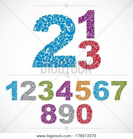 Set Of Vector Ornate Numbers, Flower-patterned Numeration. Colorful Characters Created Using Herbal