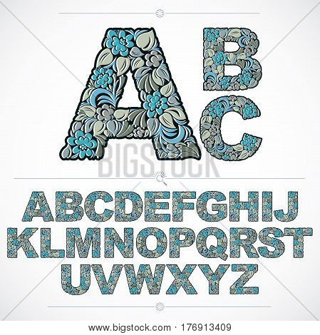 Set Of Vector Ornate Capitals, Flower-patterned Typescript. Blue Characters Created Using Herbal Tex
