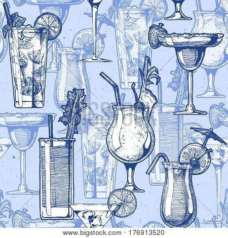 Seamless pattern with different cocktails in glasses goblets. vector illustration in old fashioned hand drawn style on blue background.