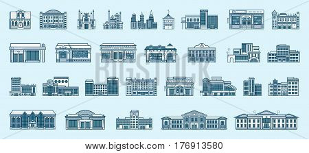 Vector set isolated icons architecture buildings structures bank, pharmacy, school, office building, Town Hall, kindergarten, hospital, police station, institute, academy, fire department linear style