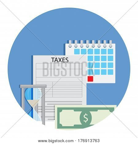 Time for taxation icon. Accounting money banknote finance banking taxation. Vector illustration