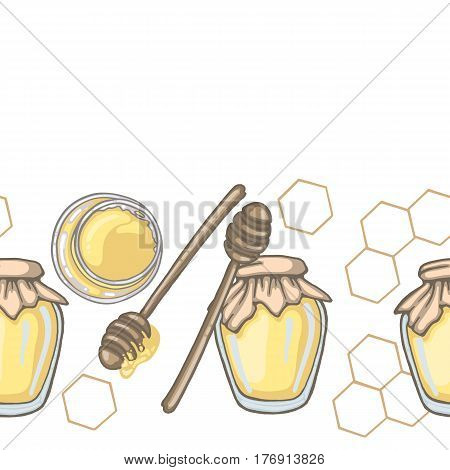 Seamless border with honey dipper and honey in jar with honeycomb decor on white background vector illustration