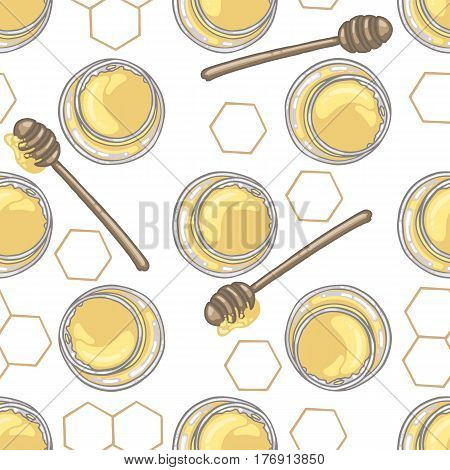 Seamless pattern with honey dipper and honey in jar with honeycomb decor on white background vector illustration