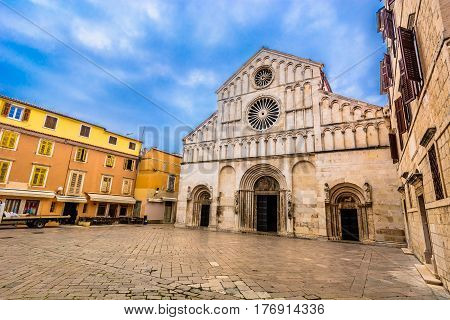 Picturesque outdoors view at cathedral in town Zadar, religious catholic and touristic center in Dalmatia region, Croatia Europe.