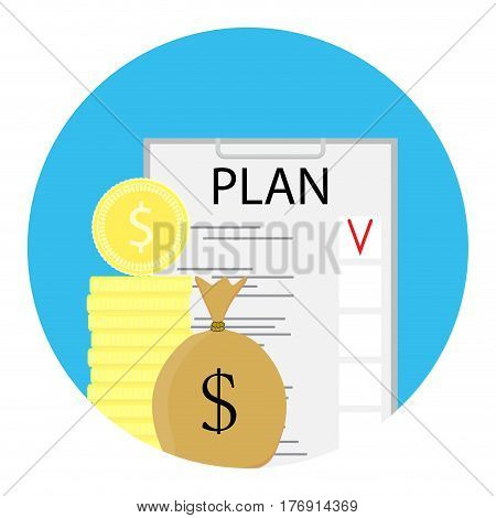 Finance plan icon. Efficiency and check development financial concept vector illustration