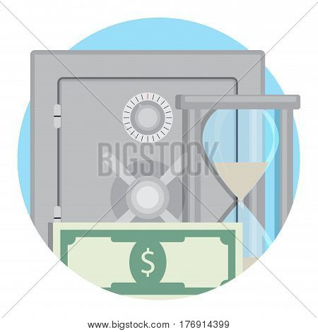 Money in bank deposit safe. Banknote and hourglass protection capitalization vector illustration