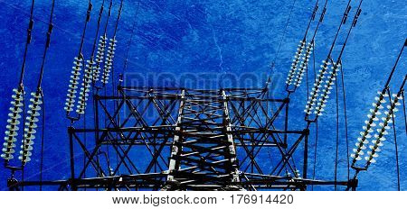 Landscape with power lines and blue sky