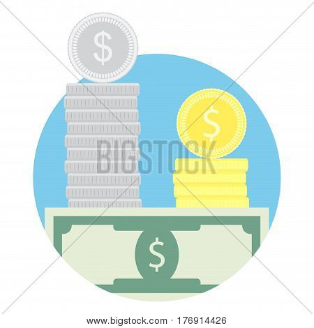 Salary vector icon. Tax financial refinancing and revenue money illustration