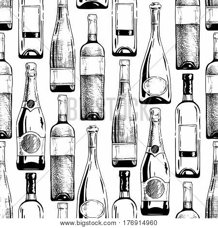 Seamless pattern with different wine and champagne bottles. Vector illustration in old fashioned hand drawn style on white background.