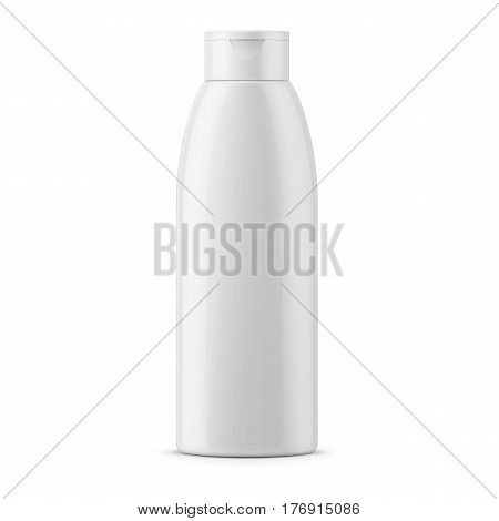 White glossy plastic bottle for shampoo, shower gel, lotion, body milk, bath foam. Realistic packaging mockup template. Front view. Vector illustration.