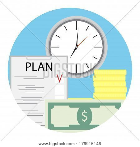 Plan finance for business. Efficiency growth finance vector illustration