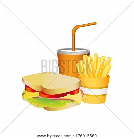 sandwich, fries french and soda food, vector illustration