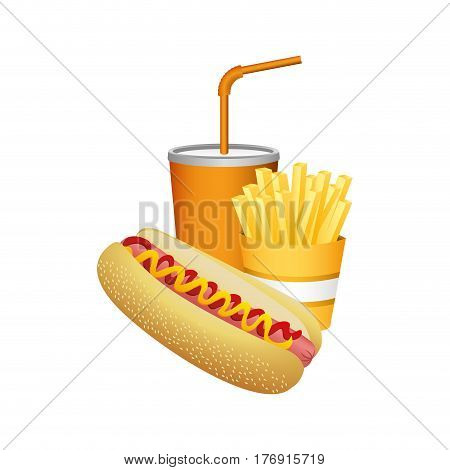 hot dog, fries french and soda food, vector illustration