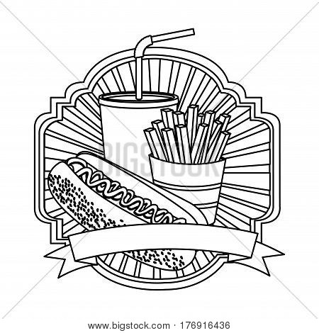 silhouette emblem with hot dog, fries french and soda with ribbon, vector illustration