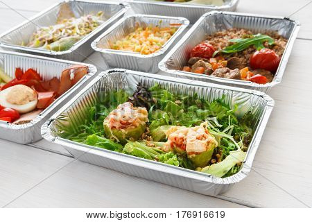 Healthy lunch takeaway for diet, daily meals background on wood