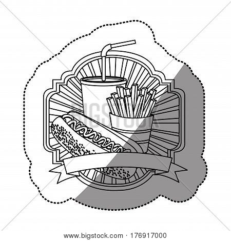 contour emblem with hot dog, fries french and soda with ribbon, vector illustration