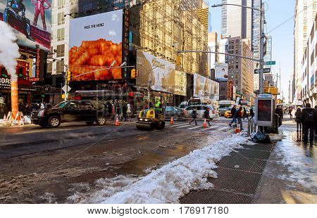 New York City - March 16, 2017: Road Working Asphalting The Infrastructure In A Road